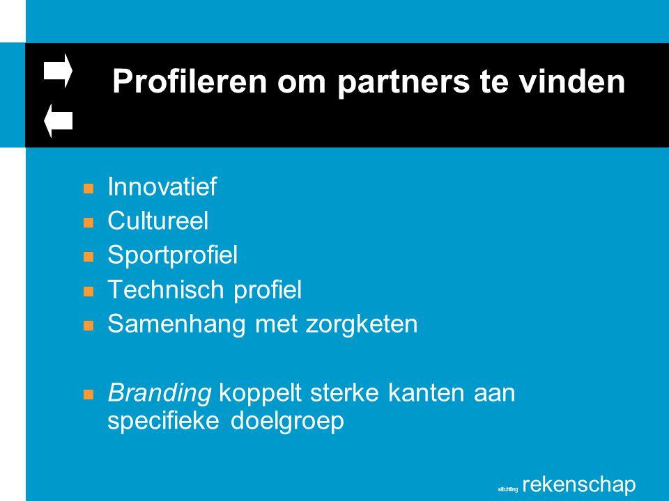stichting rekenschap Profileren om partners te vinden n Innovatief n Cultureel n Sportprofiel n Technisch profiel n Samenhang met zorgketen n Branding