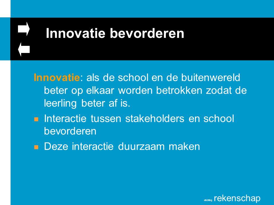 stichting rekenschap Innovatie bevorderen Innovatie: als de school en de buitenwereld beter op elkaar worden betrokken zodat de leerling beter af is.