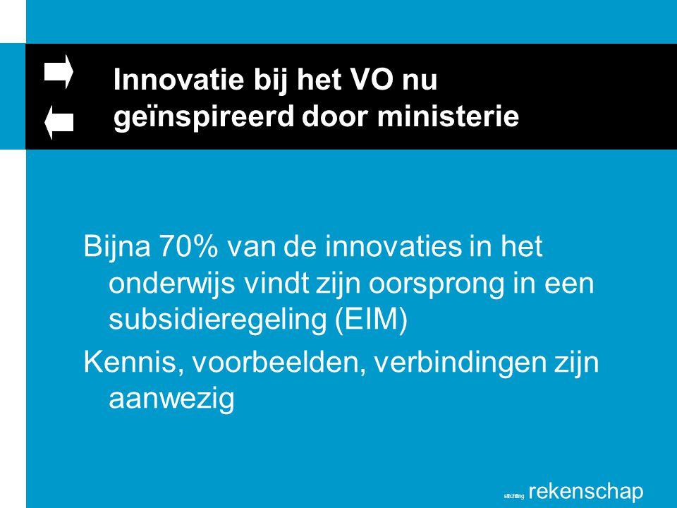 stichting rekenschap Innovatie bij het VO nu geïnspireerd door ministerie Bijna 70% van de innovaties in het onderwijs vindt zijn oorsprong in een sub