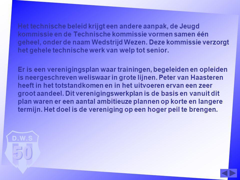 Het technische beleid krijgt een andere aanpak, de Jeugd kommissie en de Technische kommissie vormen samen één geheel, onder de naam Wedstrijd Wezen.