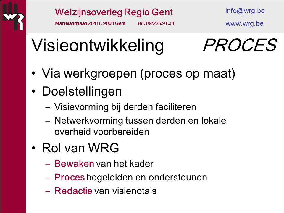 Welzijnsoverleg Regio Gent Martelaarslaan 204 B, 9000 Gent tel. 09/225.91.33 info@wrg.be www.wrg.be Visieontwikkeling Via werkgroepen (proces op maat)