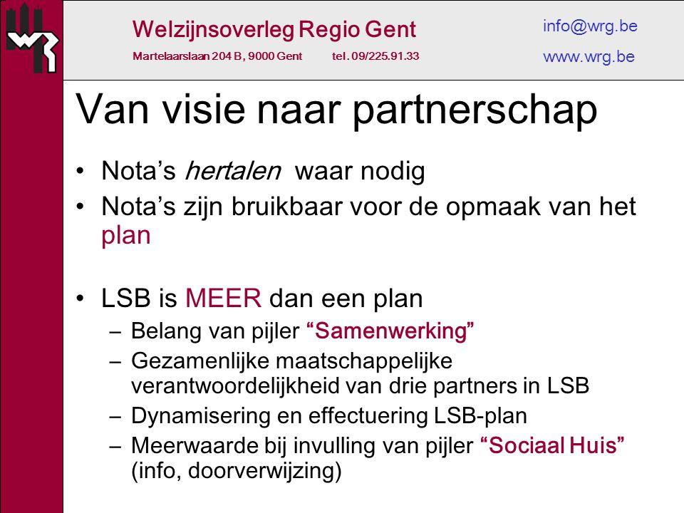 Welzijnsoverleg Regio Gent Martelaarslaan 204 B, 9000 Gent tel. 09/225.91.33 info@wrg.be www.wrg.be Van visie naar partnerschap Nota's hertalen waar n