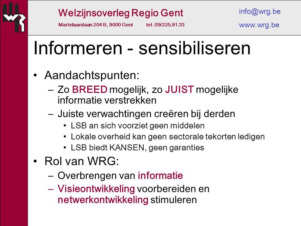 Welzijnsoverleg Regio Gent Martelaarslaan 204 B, 9000 Gent tel. 09/225.91.33 info@wrg.be www.wrg.be Informeren - sensibiliseren Aandachtspunten: –Zo B