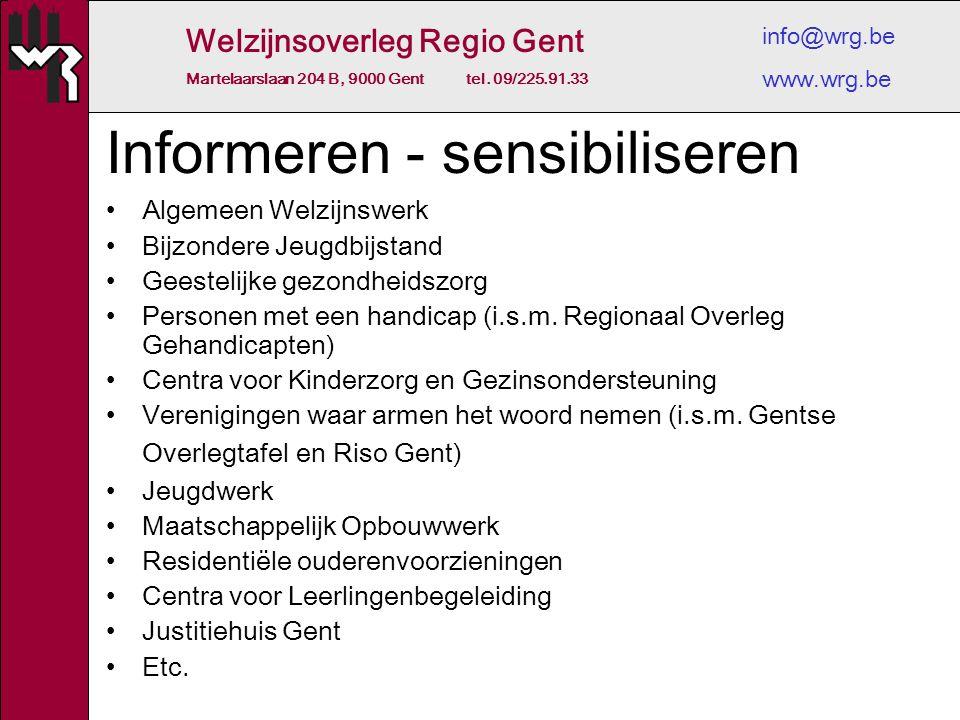 Welzijnsoverleg Regio Gent Martelaarslaan 204 B, 9000 Gent tel. 09/225.91.33 info@wrg.be www.wrg.be Informeren - sensibiliseren Algemeen Welzijnswerk