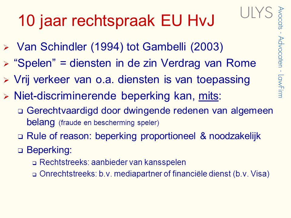 10 jaar rechtspraak EU HvJ  Van Schindler (1994) tot Gambelli (2003)  Spelen = diensten in de zin Verdrag van Rome  Vrij verkeer van o.a.