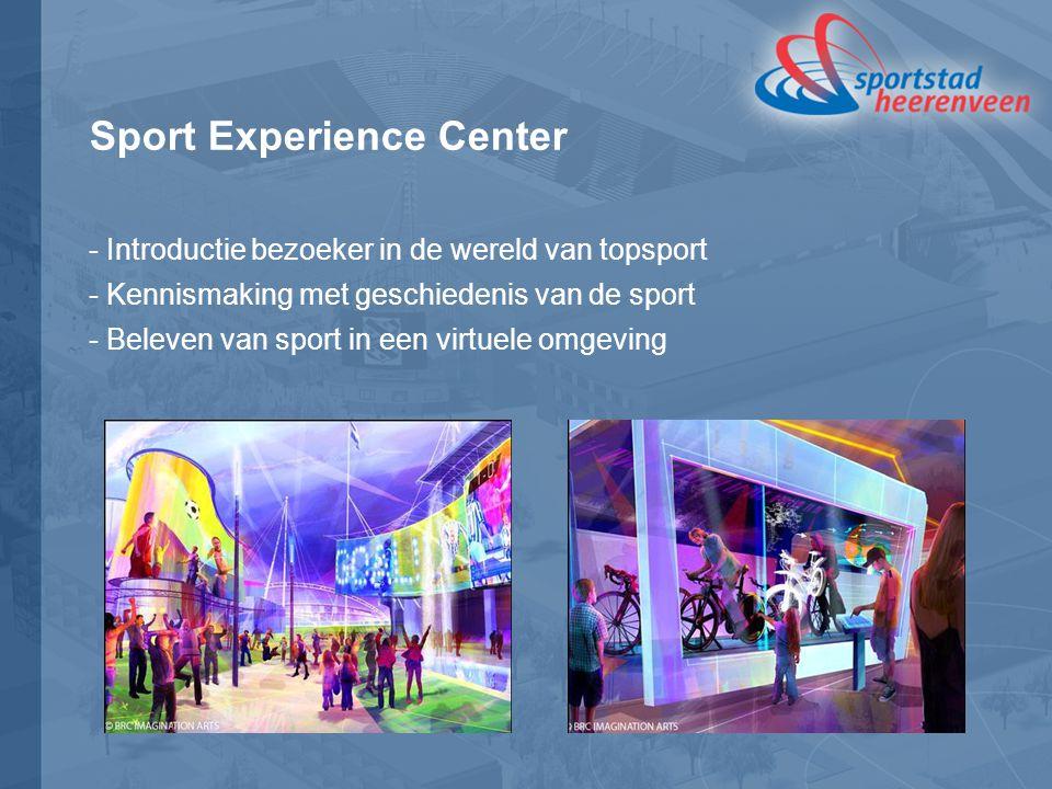 Sport Experience Center - Introductie bezoeker in de wereld van topsport - Kennismaking met geschiedenis van de sport - Beleven van sport in een virtuele omgeving