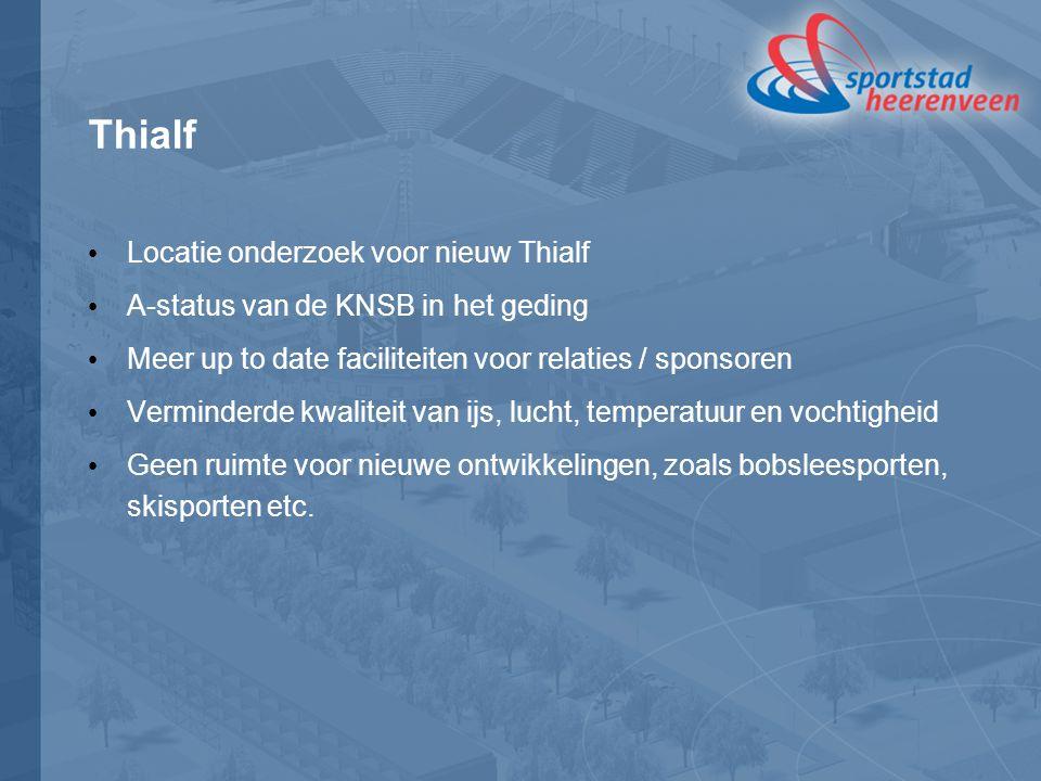 Thialf Locatie onderzoek voor nieuw Thialf A-status van de KNSB in het geding Meer up to date faciliteiten voor relaties / sponsoren Verminderde kwali