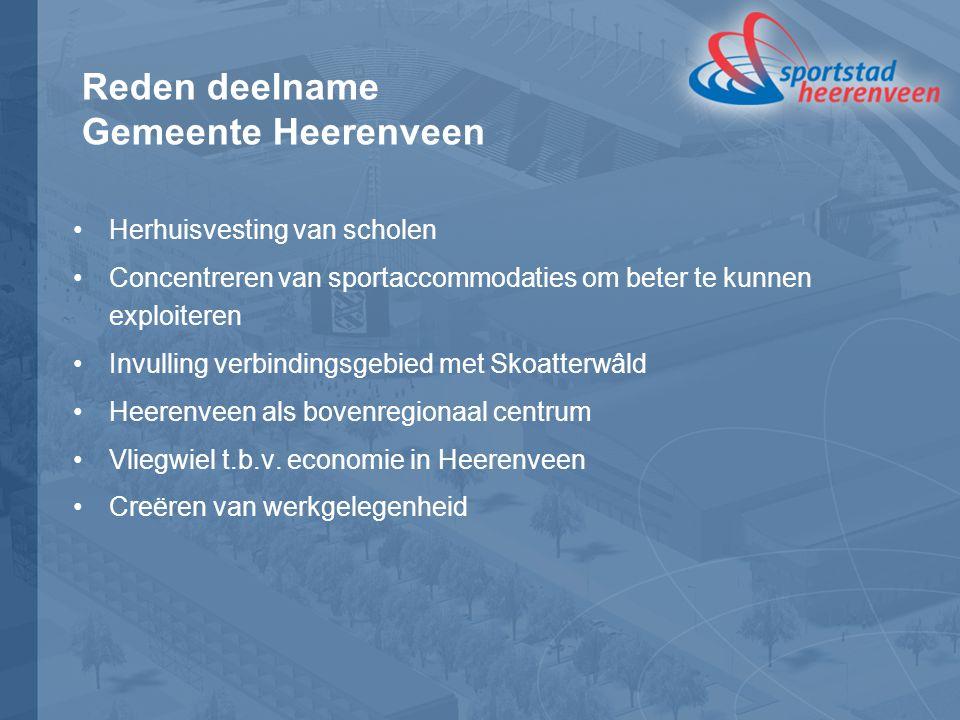 Reden deelname Gemeente Heerenveen Herhuisvesting van scholen Concentreren van sportaccommodaties om beter te kunnen exploiteren Invulling verbindingsgebied met Skoatterwâld Heerenveen als bovenregionaal centrum Vliegwiel t.b.v.