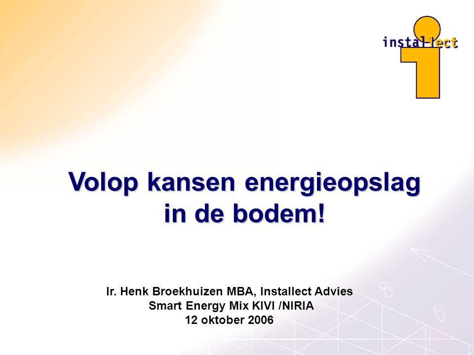Volop kansen energieopslag in de bodem! Ir. Henk Broekhuizen MBA, Installect Advies Smart Energy Mix KIVI /NIRIA 12 oktober 2006