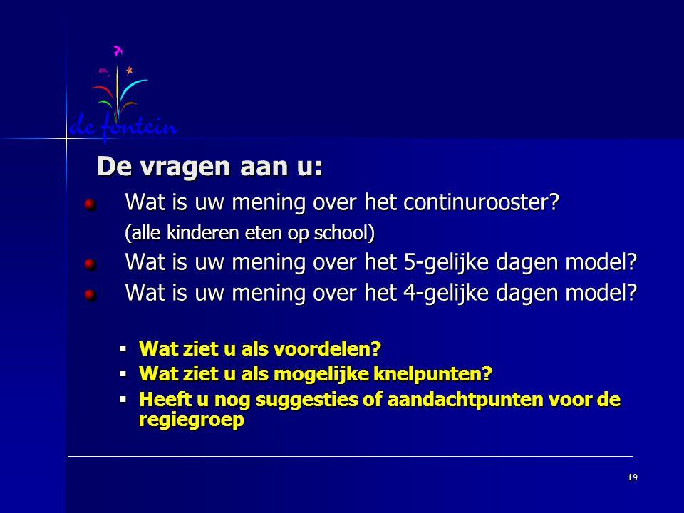 19 De vragen aan u: De vragen aan u: Wat is uw mening over het continurooster? (alle kinderen eten op school) Wat is uw mening over het 5-gelijke dage