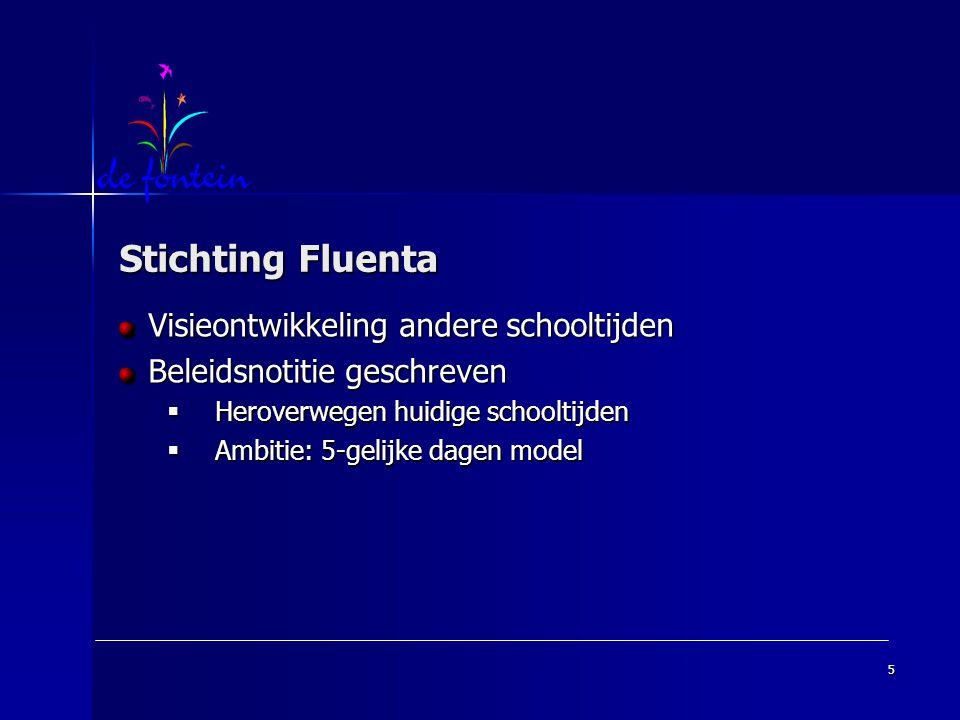 5 Stichting Fluenta Visieontwikkeling andere schooltijden Beleidsnotitie geschreven  Heroverwegen huidige schooltijden  Ambitie: 5-gelijke dagen model