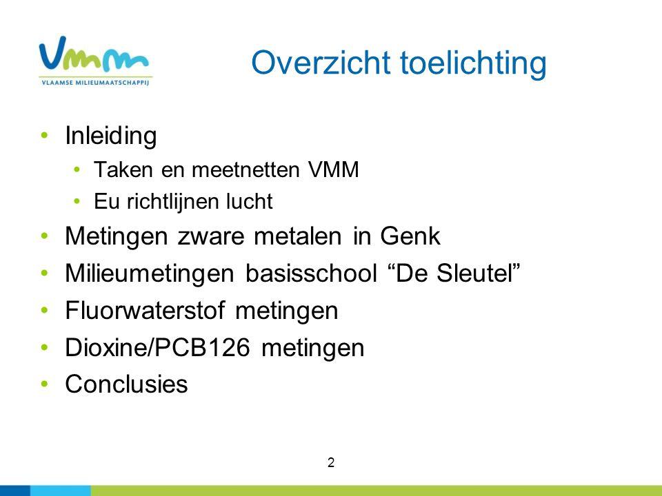 3 VMM De Vlaamse Milieumaatschappij Rapporteert over de toestand van het milieu en de mogelijke toekomstige ontwikkeling en evalueert het milieubeleid Bewaakt de water- en luchtkwaliteit door het meten ervan, het inventariseren van de relevante vervulling en het rapporteren en informeren hierover.