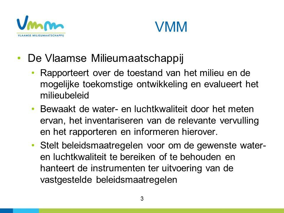 3 VMM De Vlaamse Milieumaatschappij Rapporteert over de toestand van het milieu en de mogelijke toekomstige ontwikkeling en evalueert het milieubeleid