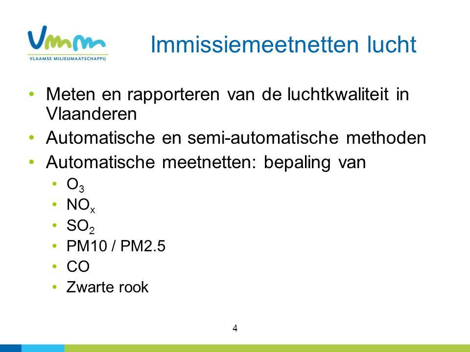 4 Immissiemeetnetten lucht Meten en rapporteren van de luchtkwaliteit in Vlaanderen Automatische en semi-automatische methoden Automatische meetnetten