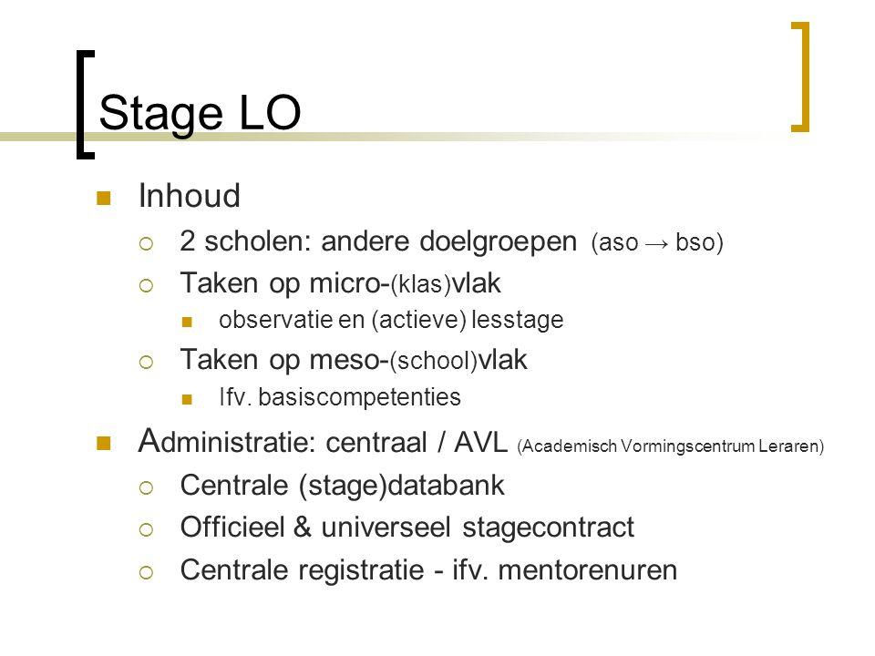 Stage LO Inhoud  2 scholen: andere doelgroepen (aso → bso)  Taken op micro- (klas) vlak observatie en (actieve) lesstage  Taken op meso- (school) vlak Ifv.