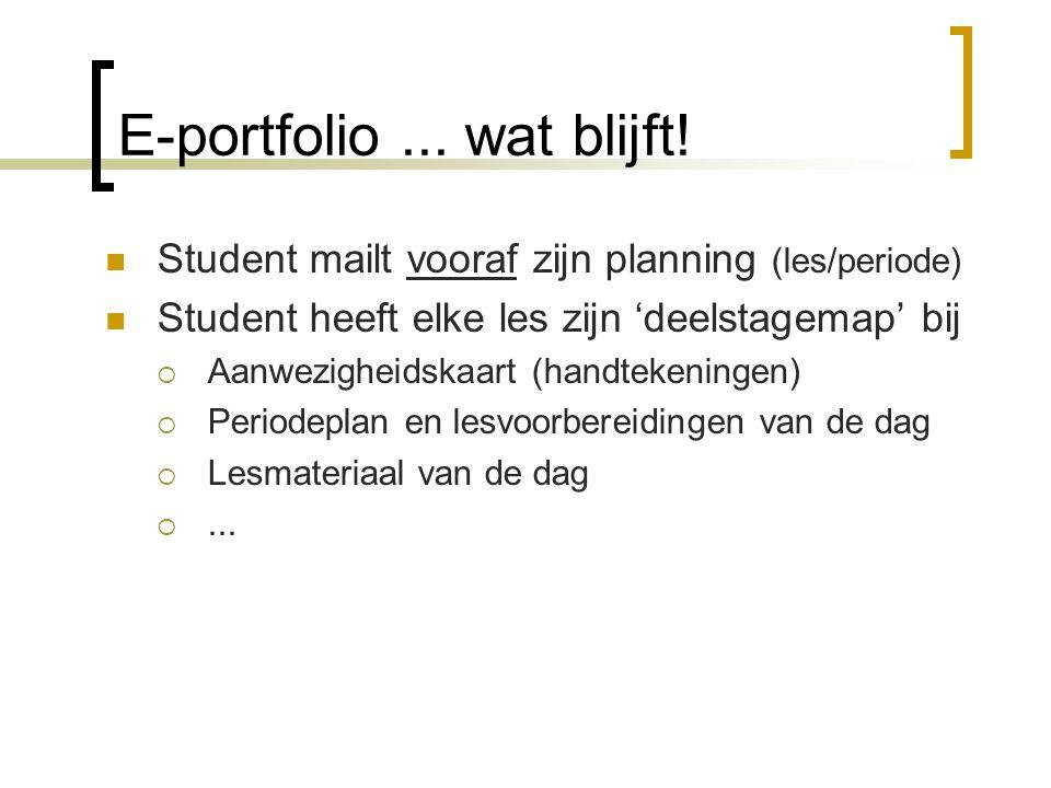E-portfolio... wat blijft! Student mailt vooraf zijn planning (les/periode) Student heeft elke les zijn 'deelstagemap' bij  Aanwezigheidskaart (handt