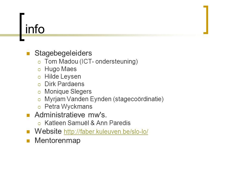 info Stagebegeleiders  Tom Madou (ICT- ondersteuning)  Hugo Maes  Hilde Leysen  Dirk Pardaens  Monique Slegers  Myrjam Vanden Eynden (stagecoörd