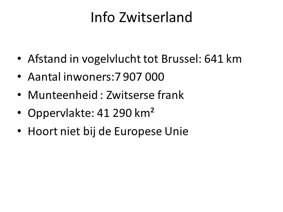 Info Zwitserland Afstand in vogelvlucht tot Brussel: 641 km Aantal inwoners:7 907 000 Munteenheid : Zwitserse frank Oppervlakte: 41 290 km² Hoort niet