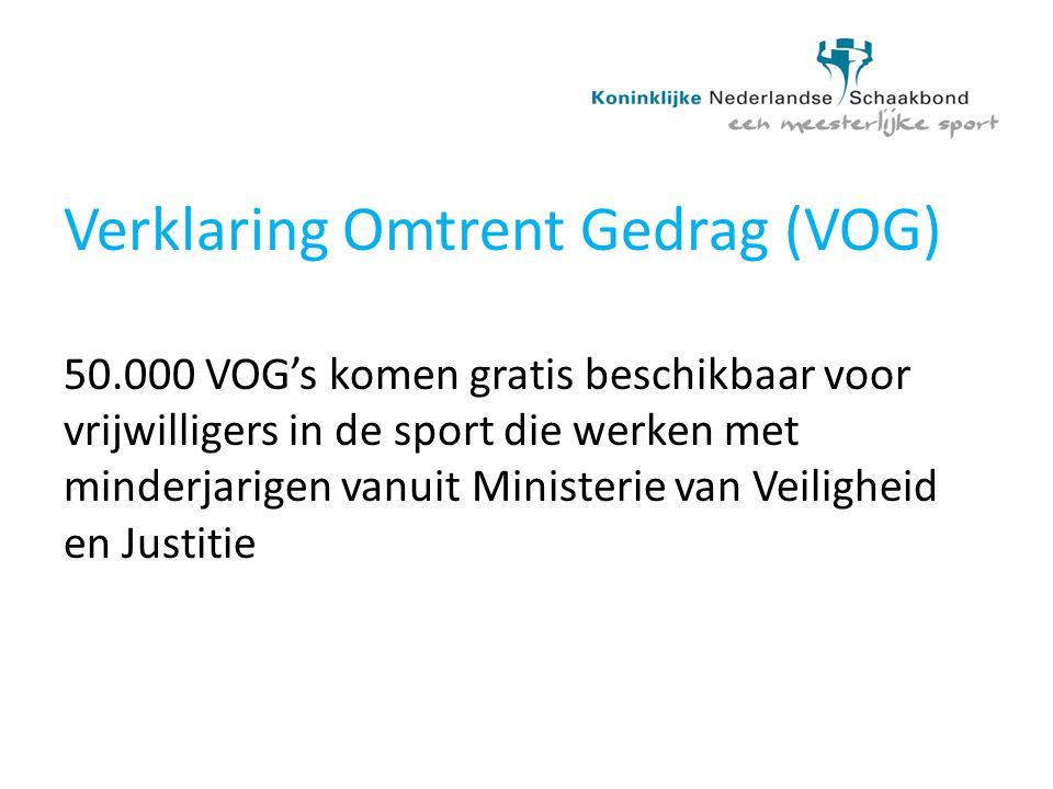 Verklaring Omtrent Gedrag (VOG) 50.000 VOG's komen gratis beschikbaar voor vrijwilligers in de sport die werken met minderjarigen vanuit Ministerie va