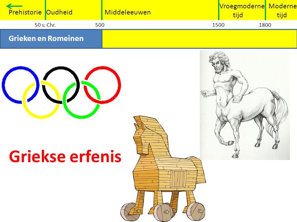 Moderne tijd Vroegmoderne tijd PrehistorieOudheidMiddeleeuwen Grieken en Romeinen 50 v. Chr.50015001800 Griekse erfenis