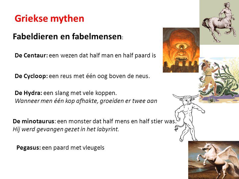 De minotaurus: een monster dat half mens en half stier was. Hij werd gevangen gezet in het labyrint. Griekse mythen Fabeldieren en fabelmensen : De Ce