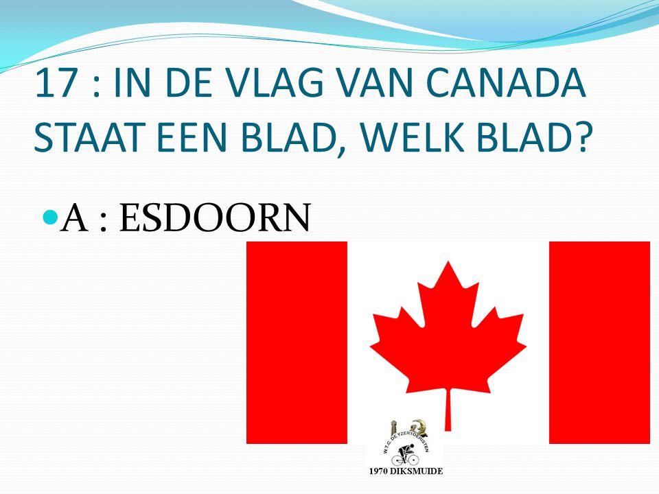 17 : IN DE VLAG VAN CANADA STAAT EEN BLAD, WELK BLAD? A : ESDOORN