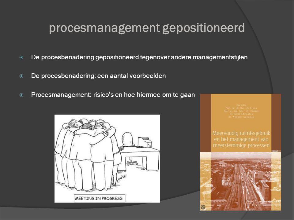 procesmanagement gepositioneerd  De procesbenadering gepositioneerd tegenover andere managementstijlen  De procesbenadering: een aantal voorbeelden  Procesmanagement: risico's en hoe hiermee om te gaan