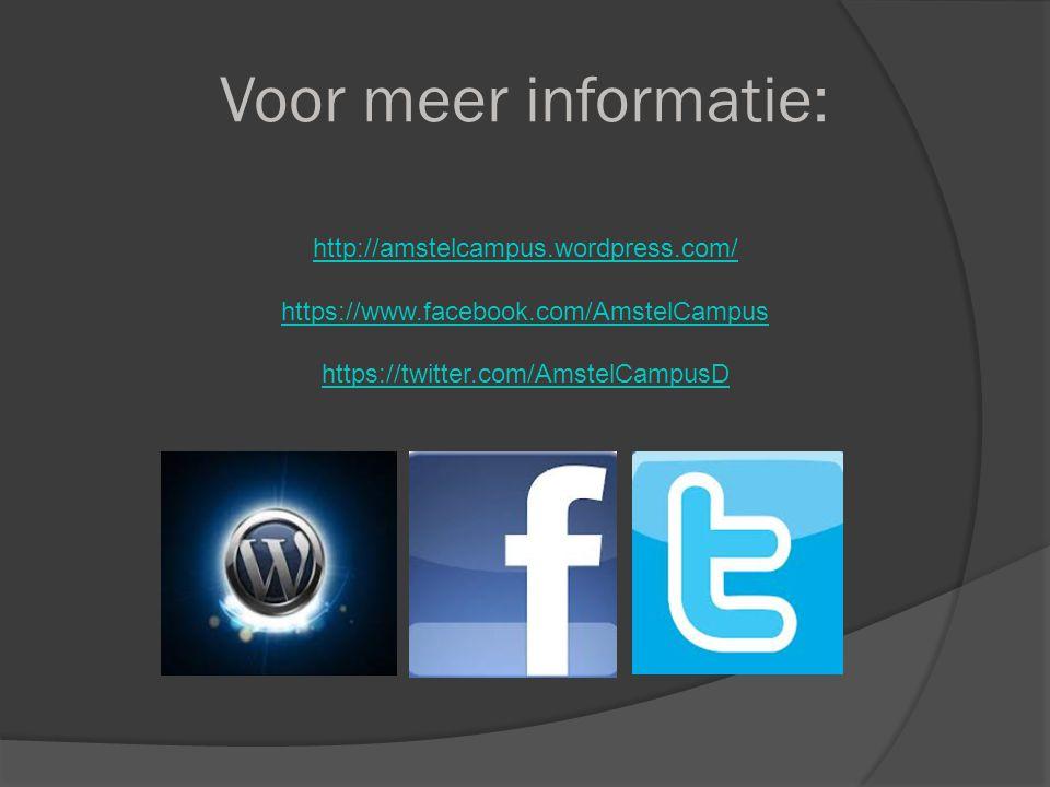 Voor meer informatie: http://amstelcampus.wordpress.com/ https://www.facebook.com/AmstelCampus https://twitter.com/AmstelCampusD