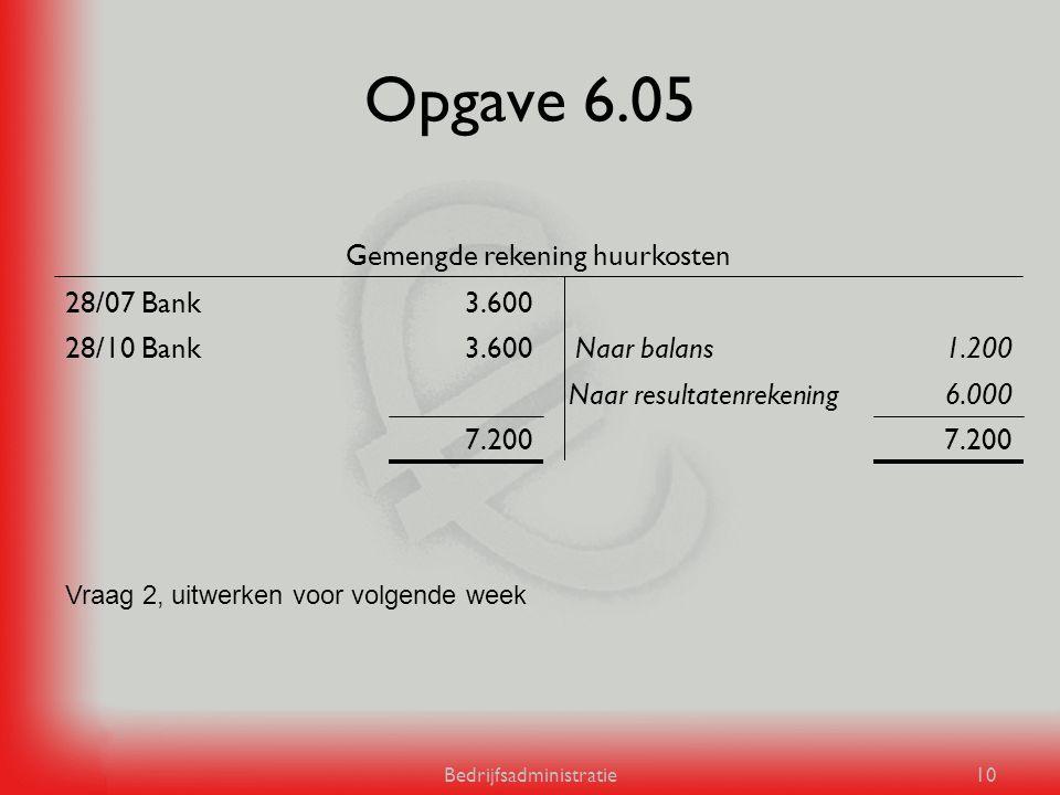 Bedrijfsadministratie10 Opgave 6.05 7.200 6.000Naar resultatenrekening 1.200Naar balans3.60028/10 Bank 3.60028/07 Bank Gemengde rekening huurkosten Vr