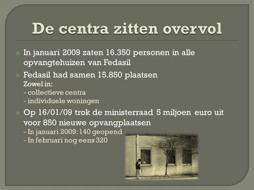  In januari 2009 zaten 16.350 personen in alle opvangtehuizen van Fedasil  Fedasil had samen 15.850 plaatsen Zowel in: - collectieve centra - individuele woningen  Op 16/01/09 trok de ministerraad 5 miljoen euro uit voor 850 nieuwe opvangplaatsen - In januari 2009: 140 geopend - In februari nog eens 320