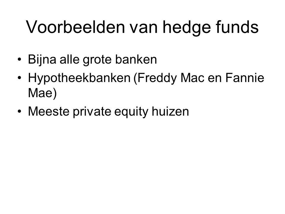 Voorbeelden van hedge funds Bijna alle grote banken Hypotheekbanken (Freddy Mac en Fannie Mae) Meeste private equity huizen