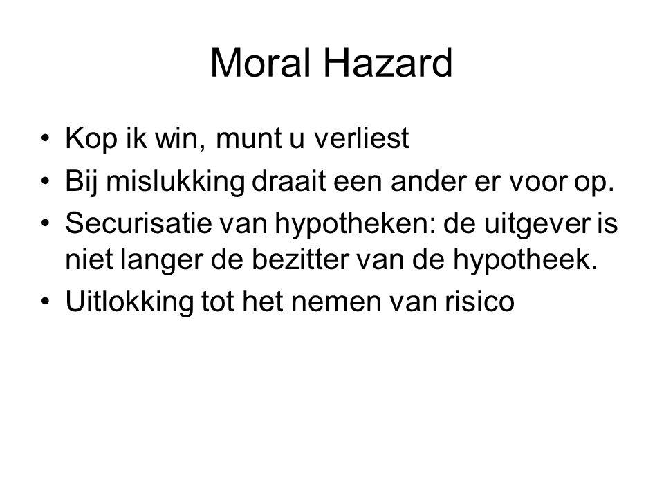 Moral Hazard Kop ik win, munt u verliest Bij mislukking draait een ander er voor op. Securisatie van hypotheken: de uitgever is niet langer de bezitte