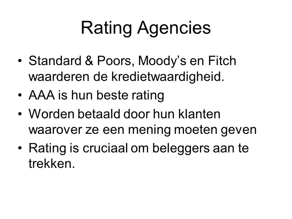 Rating Agencies Standard & Poors, Moody's en Fitch waarderen de kredietwaardigheid.