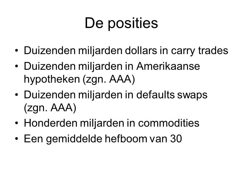 De posities Duizenden miljarden dollars in carry trades Duizenden miljarden in Amerikaanse hypotheken (zgn.