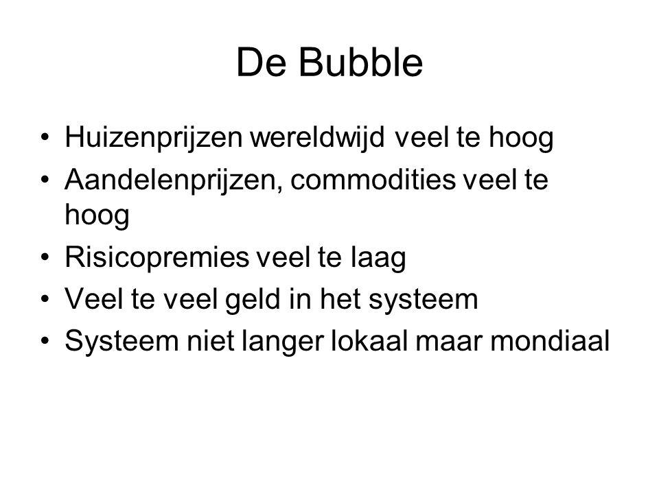 De Bubble Huizenprijzen wereldwijd veel te hoog Aandelenprijzen, commodities veel te hoog Risicopremies veel te laag Veel te veel geld in het systeem Systeem niet langer lokaal maar mondiaal