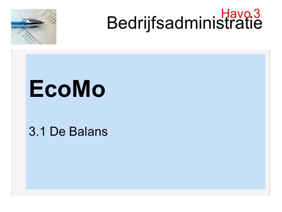 Bedrijfsadministratie EcoMo 3.1 De Balans Havo 3