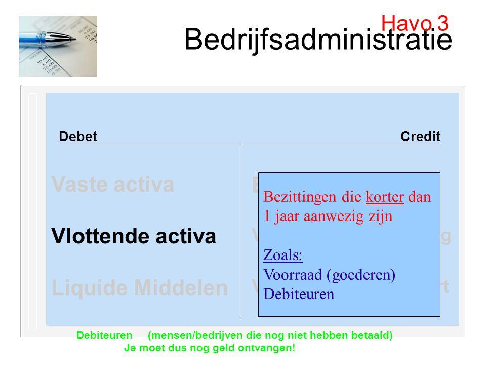 Bedrijfsadministratie Debet Credit Vaste activa Vlottende activa Liquide Middelen Havo 3 Eigen vermogen Vreemd vermogen lang Vreemd vermogen kort Bezi
