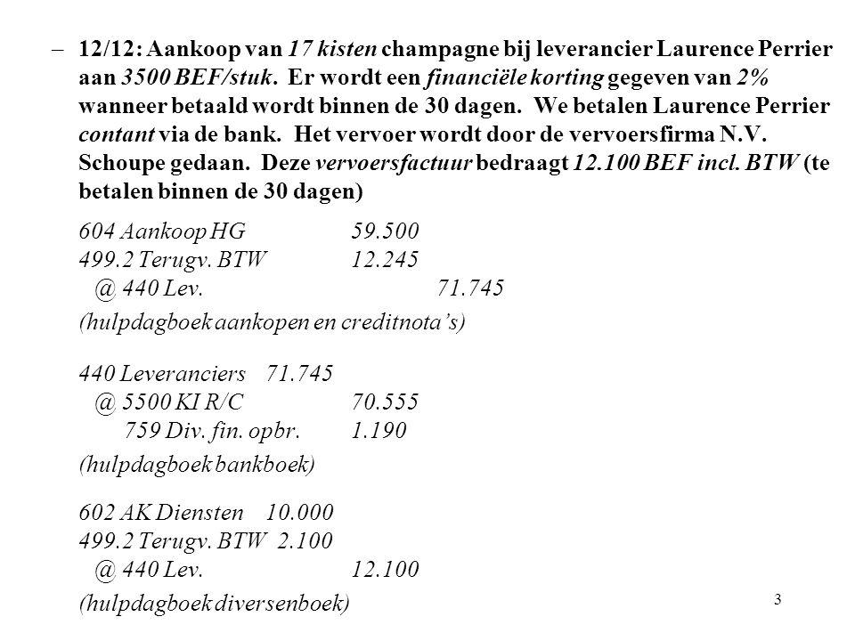 3 –12/12: Aankoop van 17 kisten champagne bij leverancier Laurence Perrier aan 3500 BEF/stuk.
