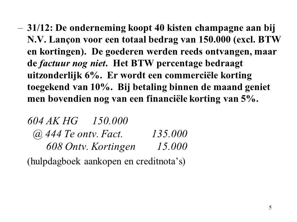 5 –31/12: De onderneming koopt 40 kisten champagne aan bij N.V.