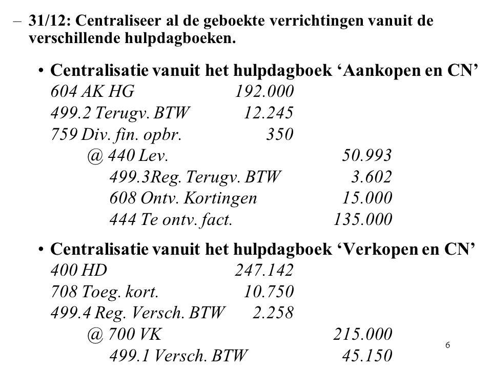 6 –31/12: Centraliseer al de geboekte verrichtingen vanuit de verschillende hulpdagboeken.