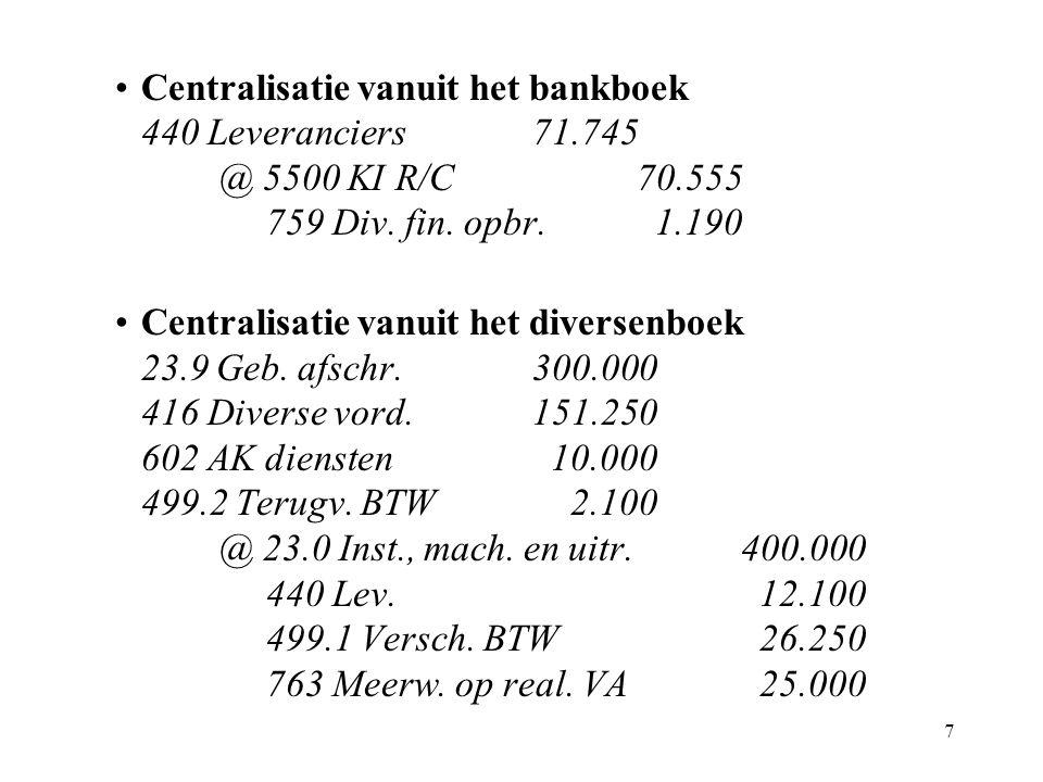 7 Centralisatie vanuit het bankboek 440 Leveranciers71.745 @ 5500 KI R/C70.555 759 Div.