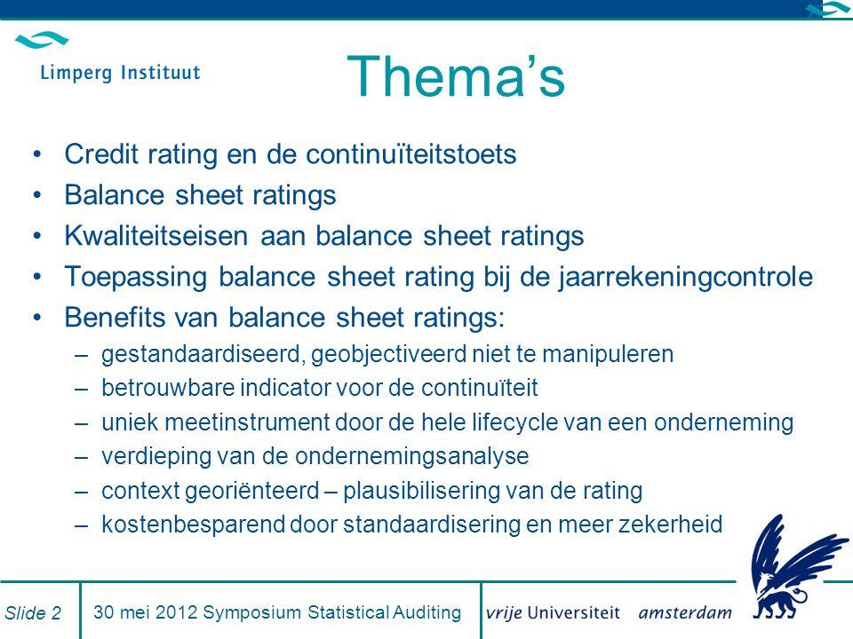 Branchebenchmarks hebben substantiële voordelen Bruikbare vertaling van ratio's Analyse van branche risico's Vaststelling van de positie van een organisatie binnen zijn branche Oriëntatie op de 'beste branche ratio`s' door benchmarking Slide 2330 mei 2011- Symposium Statistical Auditing