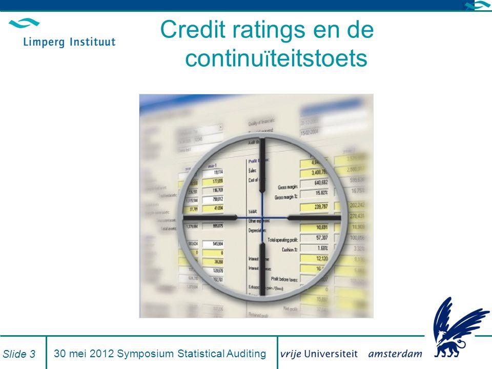 Branche benchmark bouwbedrijf (1) 25 mei 2011- - Symposium Statistical Auditing Slide 24 Bouwindustrie (Code 45000) Overzicht bedrijfstak Aantal ondernemingen13.460 Overzicht Over alle klassenKlasse Kengetallenmaxminslechstebeste Aandeel eigen vermogen30,8(-44,9)-4,5(3,5)-4,5(3,5)30,8(44,9) Totale rentabiliteit19,1(24,6)1,1(1,9)1,1(1,9)19,1(25,6) Rendement van de omzet8,0(11,0)0,8(1,8)0,8(1,8)8,0(11,0) Aanddel materiaalverbruik55,6(64,0)45,0(48,5)51,7(54,0)45,0(48,5) Aandeel personeelskosten35,0(21,2)13,8(18,3)35,0(21,2)31,0(18,3) Aandeel afschrijvingen2,5(3,4)2,0(1,9)2,4(2,5)2,5(2,5) Aandeel overige kosten13,6(17,1)120,2(10,8)13,6(12,0)12,013,1) RATINGKLASSERATINGKLASSE