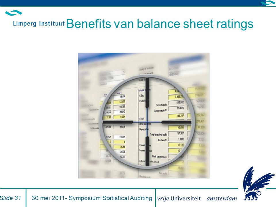 Benefits van balance sheet ratings Slide 3130 mei 2011- Symposium Statistical Auditing