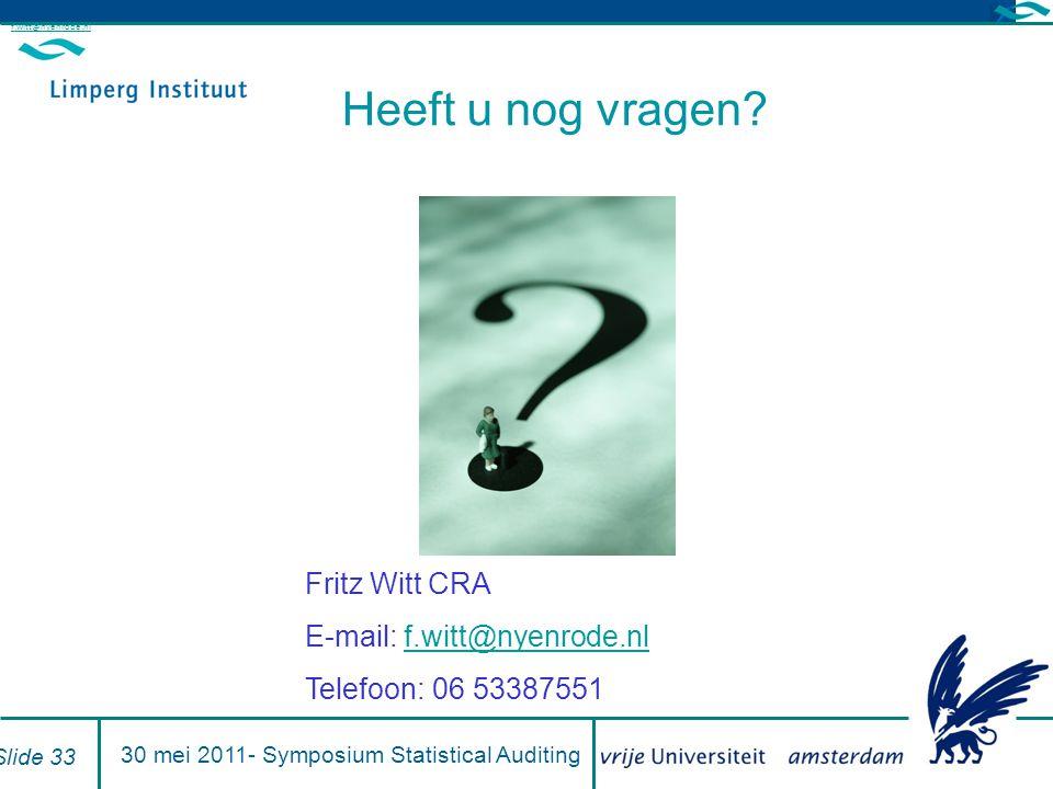 Heeft u nog vragen? Fritz Witt CRA E-mail: f.witt@nyenrode.nlf.witt@nyenrode.nl Telefoon: 06 53387551 f.witt@nyenrode.nl Slide 33 30 mei 2011- Symposi
