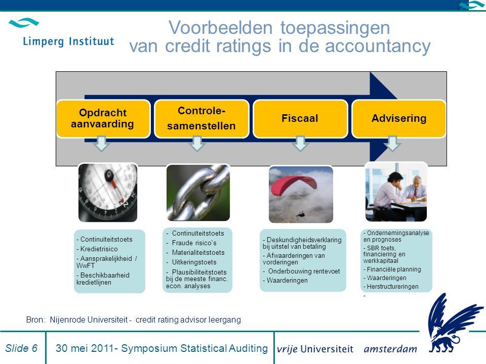 Analyse economische situatie Slide 2730 mei 2011- Symposium Statistical Auditing Ratinganalyse Groeiontwikkeling Resultaten analyse Financiering