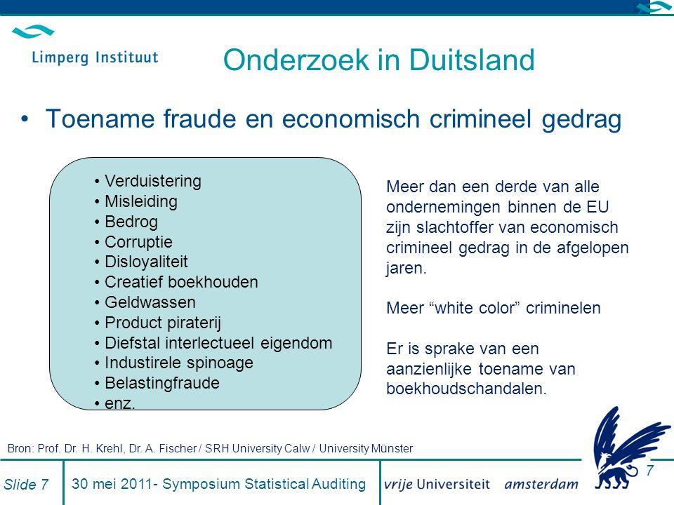 Analyse van de resultaten Slide 2830 mei 2011- Symposium Statistical Auditing Analyse van het jaarresultaat