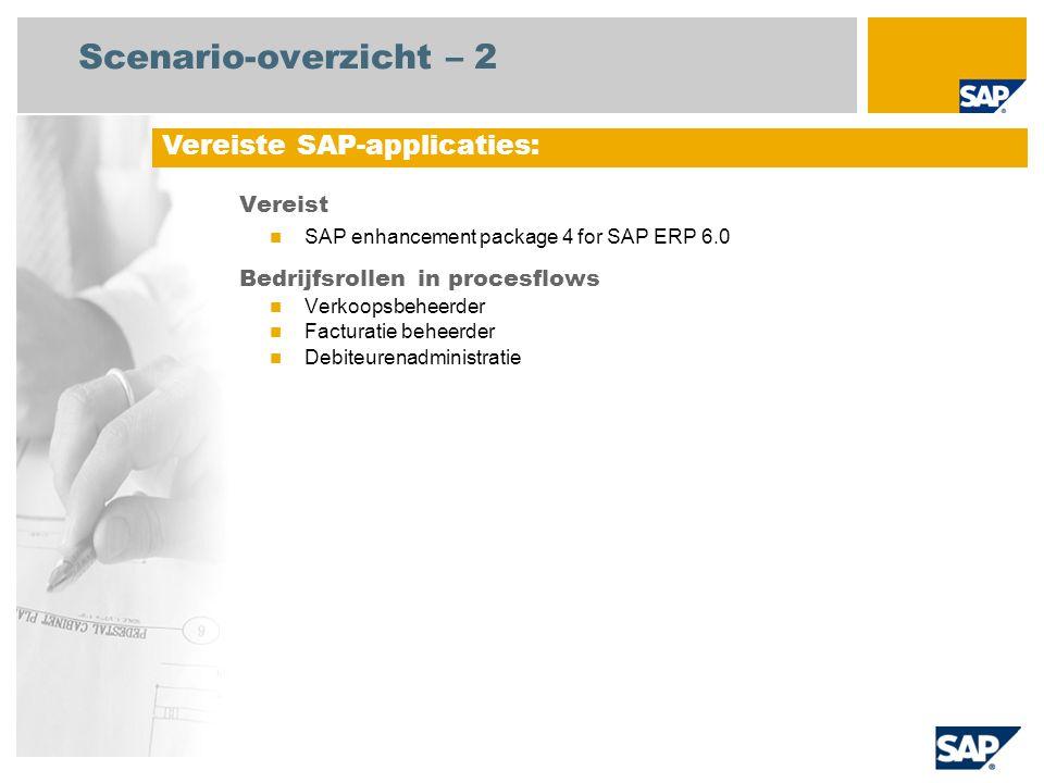Scenario-overzicht – 2 Vereist SAP enhancement package 4 for SAP ERP 6.0 Bedrijfsrollen in procesflows Verkoopsbeheerder Facturatie beheerder Debiteurenadministratie Vereiste SAP-applicaties: