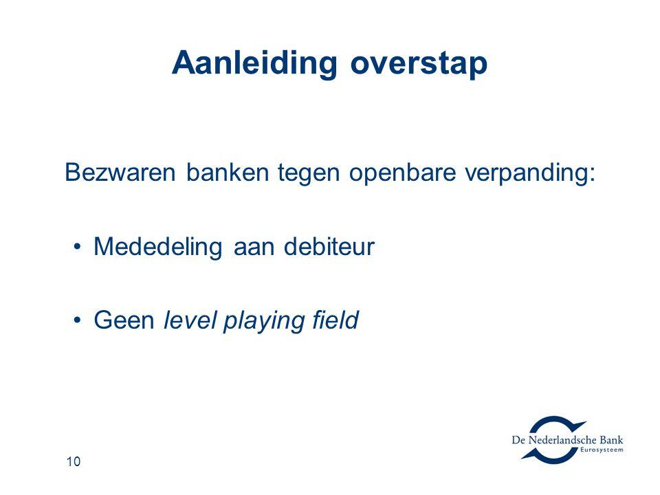 10 Aanleiding overstap Bezwaren banken tegen openbare verpanding: Mededeling aan debiteur Geen level playing field