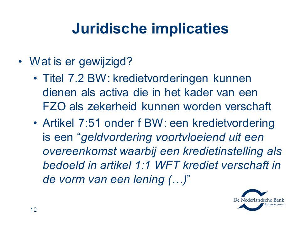 12 Juridische implicaties Wat is er gewijzigd? Titel 7.2 BW: kredietvorderingen kunnen dienen als activa die in het kader van een FZO als zekerheid ku